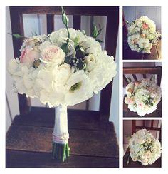 Vintage-Brautstrauß in rosa-creme. Gestaltet aus weißen Hortensien, Lysianthus, Strauchrosen, Schleierkraut