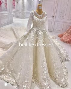 75fd9975bc0 Nice Long Sleeve White Ivory Wedding Dress Bridal Ball Gown Custom Size 6 8  10