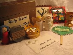 Holy Week Box Holy Week Activities, Easter Activities, Craft Activities, Kids Church, Catholic Kids, Liturgical Seasons, Prayer Stations, Godly Play, Greek Easter