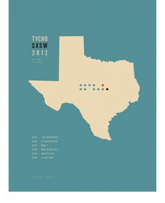 Poster/map of Tycho's set times for the SXSW Festival, Texas. Interesting and beautiful way to present information.