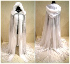 Long hooded cloak with white faux fur trim ideal for cosplay, larp, halloween costumes, fancy dress, weddings and winter theme photo shoots