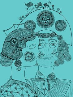 Maria Bonita e Lampião, design for a T-shirt collection,  by Paola Brunelli