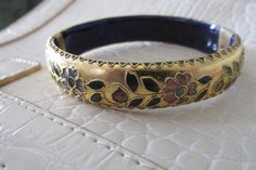 Oval Decorative Gold Tone Clamper BRACELET by GrammiesCupboard