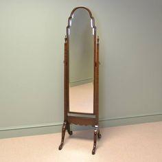 Elegant Walnut Antique Cheval Mirror