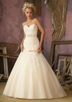 Sweep/Brush Train Sweetheart Dropped Wedding Dresses 2013