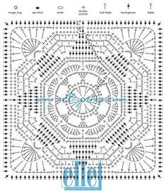 Point Granny Au Crochet, Granny Square Crochet Pattern, Crochet Diagram, Crochet Chart, Crochet Squares, Crochet Ideas, Crochet Blocks, Crochet Bedspread Pattern, Crochet Motif Patterns
