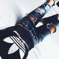 adidas + destroyed jeans