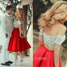 Crop Top Red Prom Dresses Tea Length Off the Shoulder Two Pieces White Homecoming dresses Cocktail Dresses-in Prom Dresses from Weddings & Events on Aliexpress.com | Alibaba Group