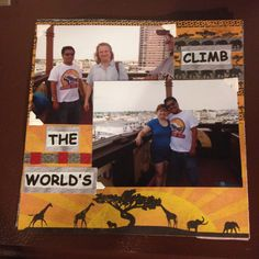 Lucy the Elephant, Margate NJ, Mom and Joe & I; Page 4: This a 8 by 8 scrapbook page featuring elephant/safari themed paper and cut-outs from brochures.
