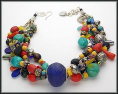 KIFFA - Magnificent Mixed African and Gemstone Beads 4 Strand Statement Necklace