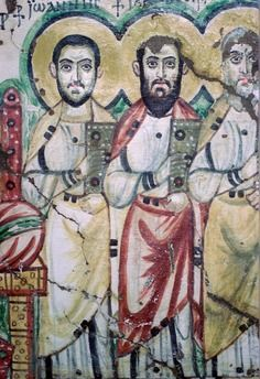 Detail of a Coptic wallpainting form Baouit, Egypt, depicting John and Jacob/James, 6th Century. In the collection of the Coptic Museum in Cairo.
