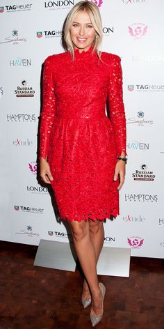 Sharapova celebrated her Hamptons magazine cover in a Valentino red leather dress accented with a Tag Heuer watch and Manolo Blahnik pumps.