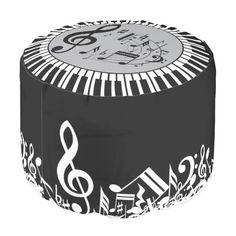 Circular Piano Keys And Music Notes Round Pouf. An eye-catching, modern and stylish musical keyboard design in gray, black and white with piano keys in a circular shape to create a border around musical notes. An ideal contemporary music gift for the pianist, music lover or musician.