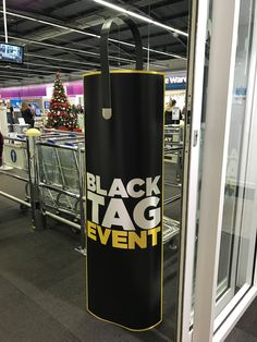 """Nice security banner in Currys PC World with the addition of the """"tag"""" on top.  The use of the yellow key line increases standout, otherwise the black would blend in to the surrounds"""