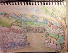 """""""Leo and Violet on Farm"""" (2016) Pencil Sketch of my Granddaughter's cats- She also loves horses, butterflies and Koi Ponds all in this sketch- Painting will be Acrylic on wood board and pretty close to this with a few changes on the pond to include a waterfall - Am also going to do a box with both cats on it"""