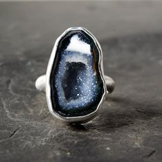 Blue Grey Geode Ring in Sterling Silver by anatomi on Etsy, $118.00