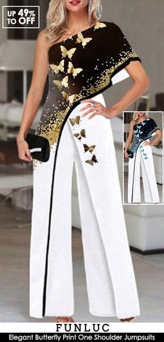 Pantsuits For Women, Jumpsuits For Women, Cool Outfits, Fashion Outfits, Womens Fashion, Look 2018, One Shoulder Jumpsuit, Evening Outfits, Dress To Impress