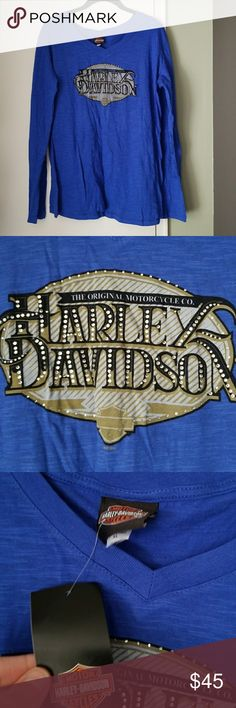 Harley Davidson Original L/S Shirt Wisconsin XL New With Tags Harley Davidson Original Long Sleeve Shirt Embellished Harley Davidson Logo on Front, with Rhinestones Back graphic is printed Wisconsin Harley Davidson Dealership Logo Blue Size XL Pictures do it NO JUSTICE  More coming Ask Questions Bundle and save Harley-Davidson Tops