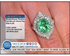 4.04 ct Mozambique Paraiba Tourmaline & 1.01 ctw Diamond 18K White Gold Ring, Size 6.25
