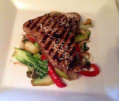 Soy glazed tuna steaks with asian fry