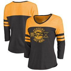 Pittsburgh Penguins Women's Black Tri-Blend Colorblock Three-Quarter Sleeve #penguins #nhl #pittsburgh