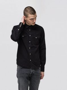 426e02bb54 Jet black slim fit shirt in organic cotton twill finished with pearl prong  press buttons. Denim Blog