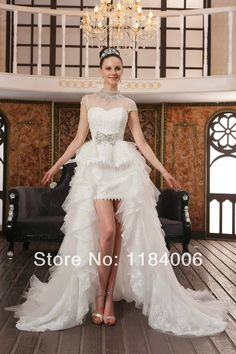 Free Shipping 2014 Hight quality Custom-made Mini white& ivory bridal Sheath wedding dresses HK-054 $199.00