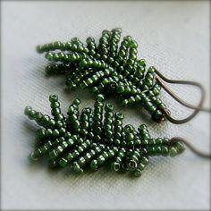Glass Seed Bead, Copper - Earrings - 'Fern Frond'