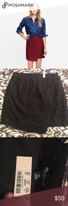 """NWT Madewell BLACK lace wrap mini skirt Super cute and classy but haven't gotten around to wearing it yet...perfect NWT condition. Runs truer to size than most Madewell pieces. Waist 15"""" flat, length 16.5"""" at its shortest, 18"""" at its longest // this item is cross-listed Madewell Skirts Mini"""