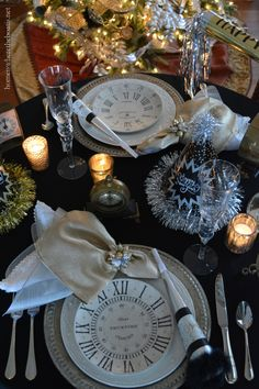 New Year's Eve table with clock plates, clocks and party horns and hats | homeiswheretheboatis.net
