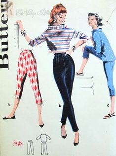 Welcome to So Vintage Patterns Butterick 7557 Vintage Sewing Pattern Sleek Marilyn Style Figure Hugging Tapered Pants or Capri with Boxy Blouse or Crop Top Flattering Stand Away Large Cuff Collar Rockabilly Bust 32 Vintage Sewing Pattern Vintage Outfits, Vintage Pants, Retro Outfits, Dress Making Patterns, Vintage Dress Patterns, Retro Mode, Vintage Mode, 1950s Style, Marilyn Monroe Stil