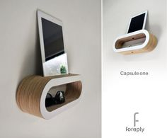 Wall mounted capsule shelf for tablet computer, phone, keys, glasses---  Space saving - minimalist - created for modern living. Width 345mm, Height