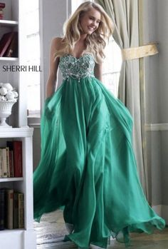 2014 Emerald Green Sparkly Beaded Top Layered Chiffon Dress For Prom