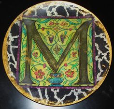 Handmade Decoupage M plate by LaurelWilder on Etsy, $43.00