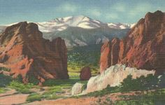 Pikes Peak Colorado Linen Vintage Postcard Unused