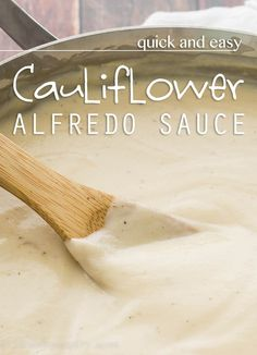 Quick and Easy Cauliflower Alfredo Sauce 1 large head of cauliflower) 1 cups water + 1 cube vegetable bouillon (optional) 2 tbsp butter 2 to 3 tsp minced garlic (I used the pre minced/bottled kind) 1 tsp salt ½ tsp black pepper pinch of crushed red pepper flakes ½ cup milk 1 cup grated parmesan cheese