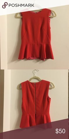 *Never worn* French Connection Peplum Top Coral peplum top. Zipper closure in back French Connection Tops Tank Tops