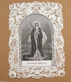 n°7: image pieuse découpis canivet gravure religion Christ sainte Philomène