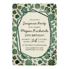 #Green Succulents Natural Birthday Party Invitation - #birthday #invitations