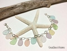 Sea Glass Bracelet, Sterling Silver, Beach Glass Bracelet, Jewelry Quality Pastel Glass, Blue, Yellow, Pink, Lavender, 7.5  Inch Bracelet by SeaGlassVisions on Etsy