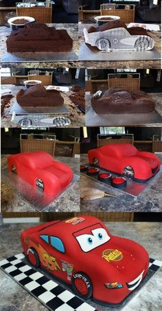 Cars- smart and simple way to get the correct shape using a printout of side view to cut shape of cake- never would have thought of that
