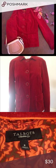 Talbots red corduroy blazer size 8 Talbots red corduroy blazer size 8. Fun corduroy covered buttons with a brass like border,cotton spandex blend. Excellent condition Talbots Jackets & Coats Blazers