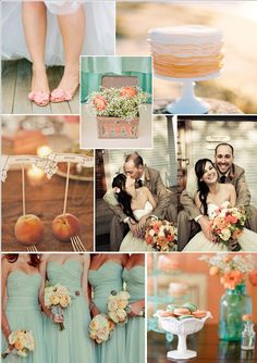 Turquoise and Peach.