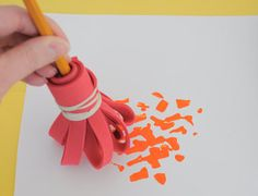 How to make your own silly paintbrushes (from the studio art blog at the Eric Carle Museum)