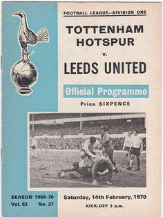 Vintage Football (soccer) Programme - Tottenham Hotspur v Leeds United, 1969/70 season #football #soccer #tottenham #spurs #leeds #1970s