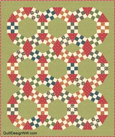 JACK'S CHAIN QUILT - triangles back to back create diamonds; chain makes lens shape not circle