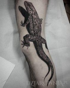 Tatuaż Jaszczurka - 3d, zwierzęta, na nodze, dla mężczyzn