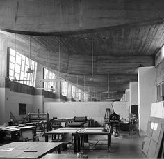 The printmaking studio at the school of art & architecture in Chandigarh, India, designed by Le Corbusier.