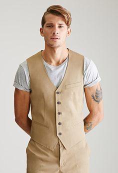 Button-Front Chino Vest   21 MEN   #f21men