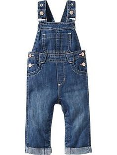 Roll-Cuff Denim Overalls for Baby | Old Navy